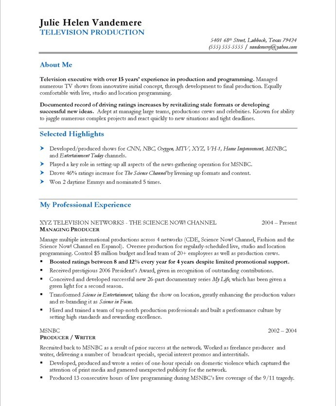 best tv resume examples