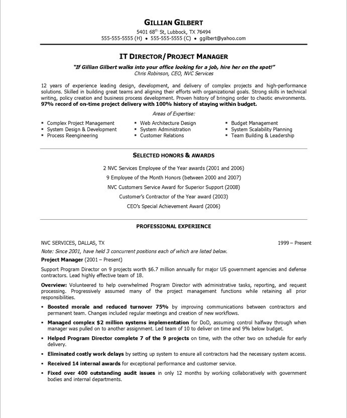 IT Director Free Resume Samples Blue Sky Resumes
