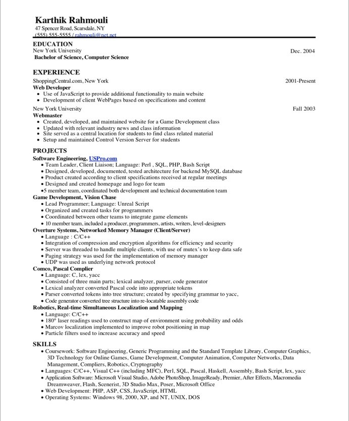 Resume CV Cover Letter Resume Sample For A Web Developer Game