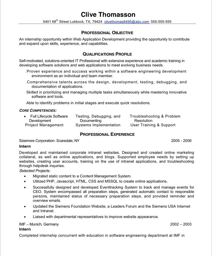 Web Developer Resume Examples - Examples of Resumes