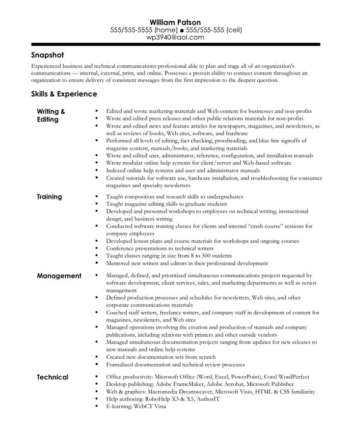example of a written resume - Examples Of Well Written Resumes