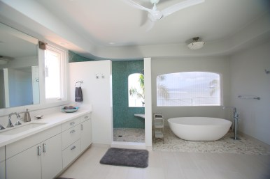 Master bathroom with soaking tub and rain shower