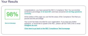 Our REC compliance test score (98%)