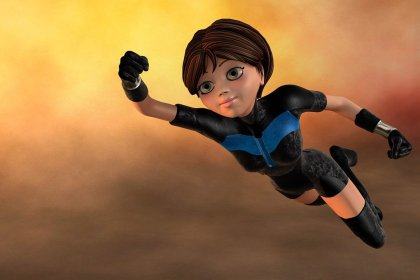 Women working technology and IT represented by a flying super hero woman.