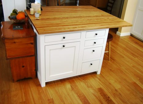 Kitchen island cabinetry, Maine cabinet maker, corporate desk
