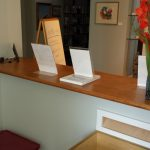 Cherry cabinetry-reception desk-cash wrap