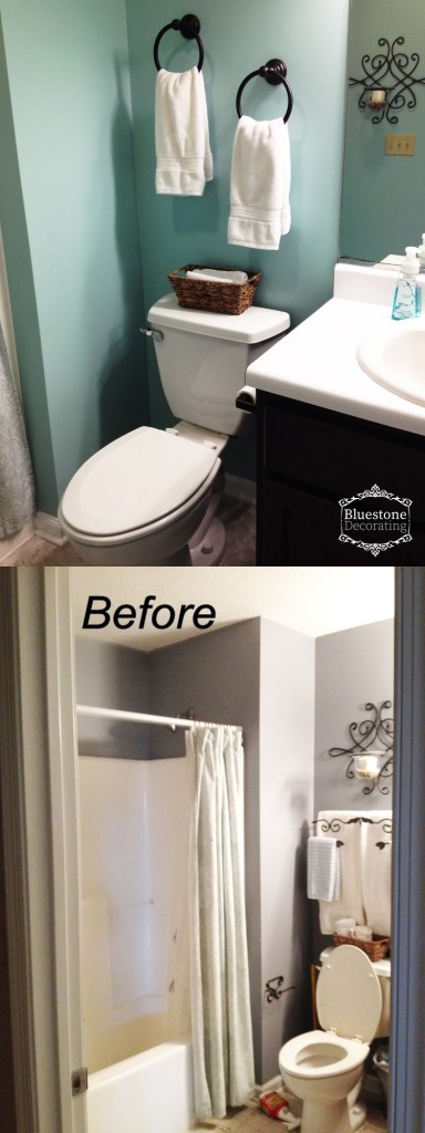 Updating a builder-grade bathroom in a weekend with a minimal budget.