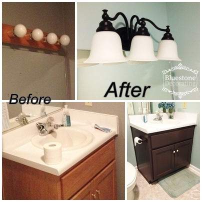 Updating a builder-grade bathroom in just a weekend, for just a couple hundred dollars. New paint, light fixtures, vinyl floor and a deep cleaning took this from dated to dazzling.
