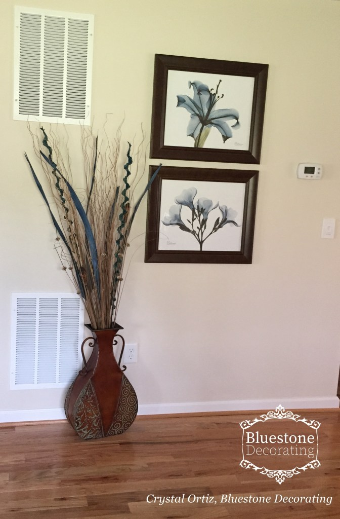 Hanging Art and downplaying duct returns by Crystal Ortiz, Bluestone Decorating