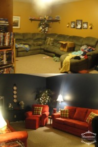Staged Family Room - Before & After. Painting and using furniture better scaled to the size makes this a great room for relaxing and watching tv or playing a family game.