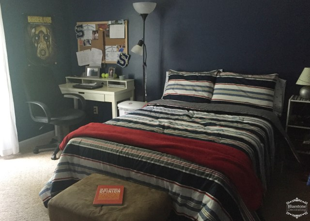 teen-boy-bedroom-makeover-navy-red-white-gray-bed-desk-arrangement