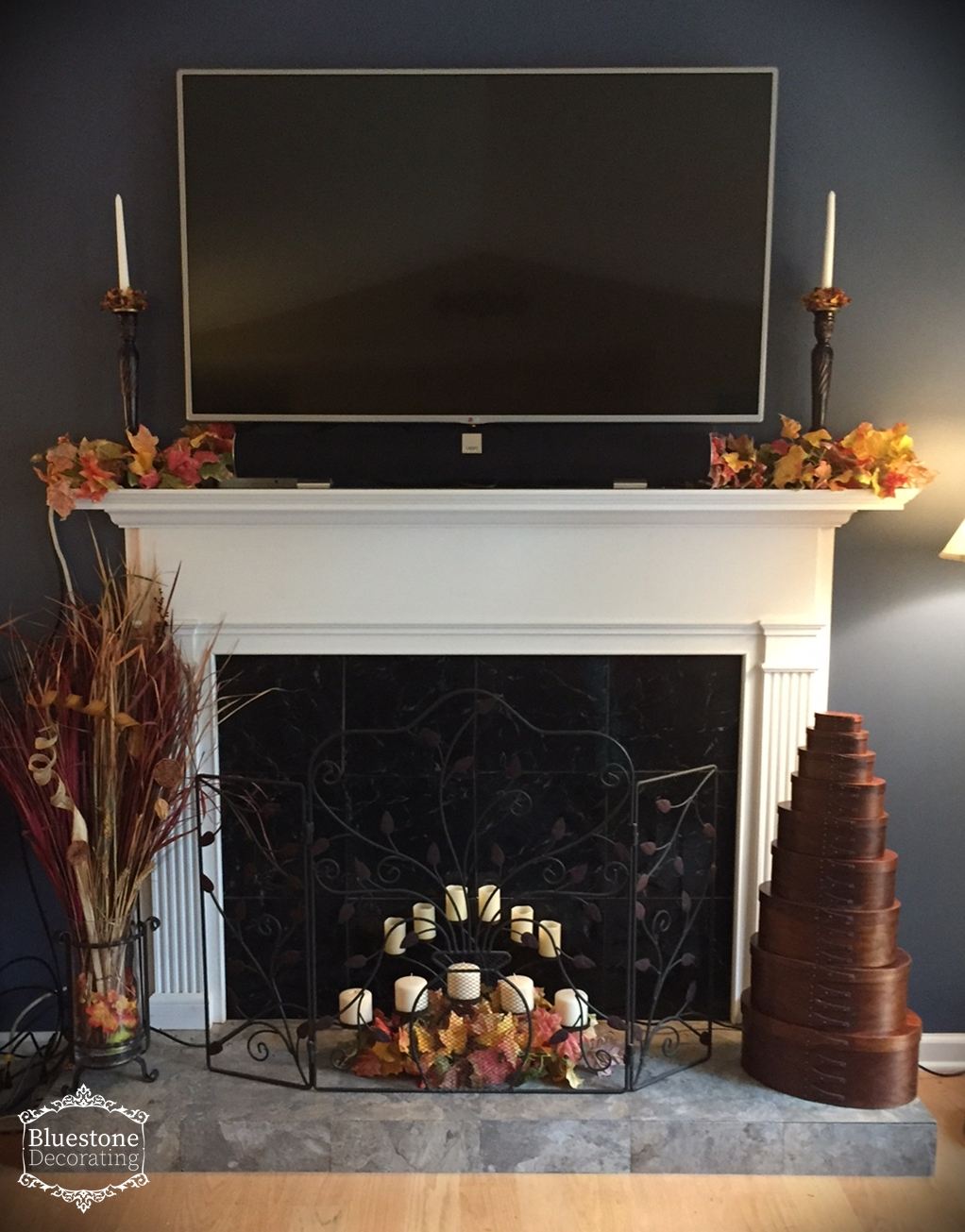 Fall Decorating in the Living Room & fall-decorating-fireplace-candles-leaf-garland-home-for-the-holidays ...