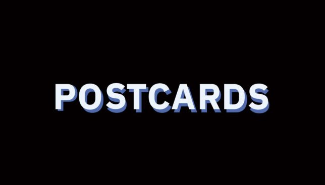 """image with black background and the word """"Postcards"""""""
