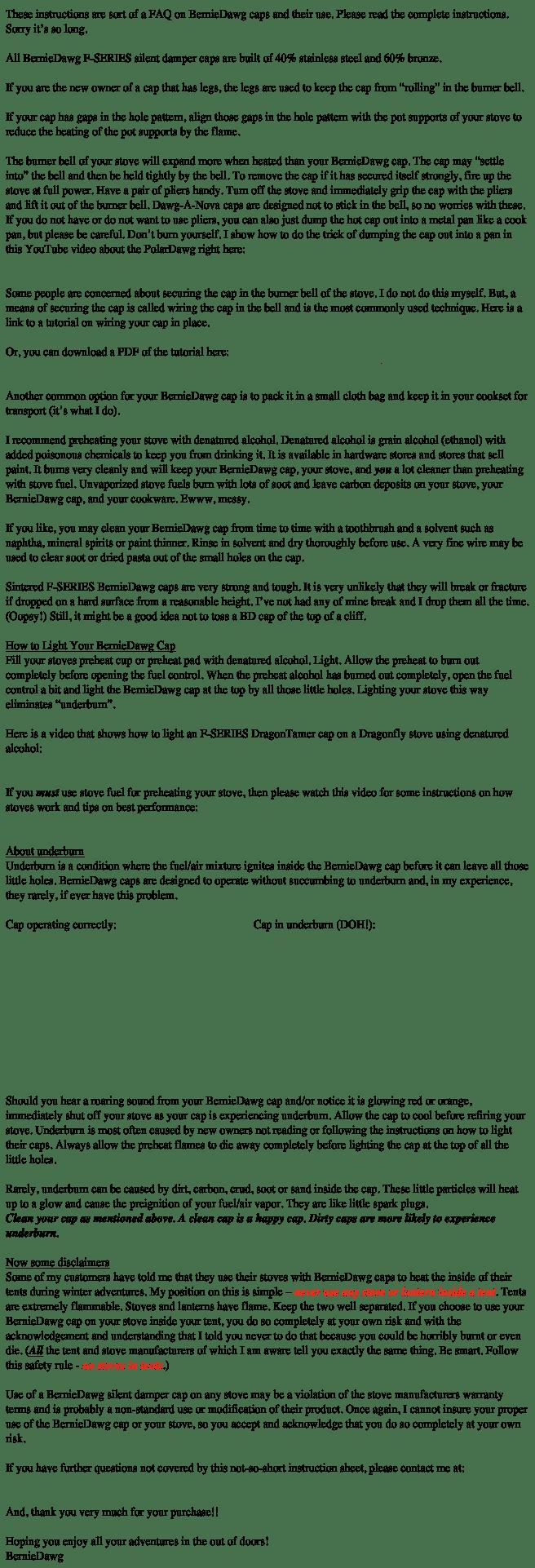 F-Series Cap Instructions