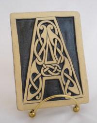 Celtic knot handmade ceramic alphabet tile A