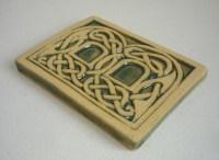 Celtic knot handmade ceramic alphabet tile B
