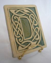 Celtic knot handmade ceramic alphabet tile D