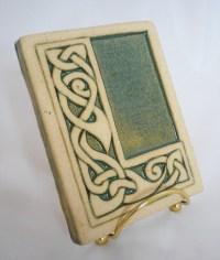 Celtic knot handmade ceramic alphabet tile L