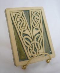 Celtic knot handmade ceramic alphabet tile V