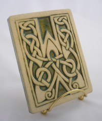 Celtic knot handmade ceramic alphabet tile W