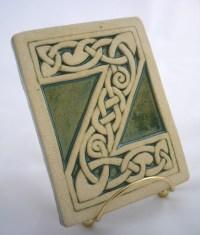 Celtic knot handmade ceramic alphabet tile Z