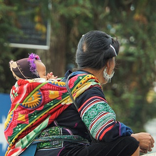 Black Hmong mother & baby