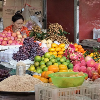 Fruit on sale in the Kampot Market