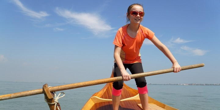 Claire learns to row a gondola