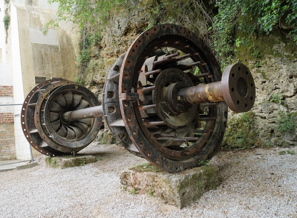 An ancient turbine from one of the first hydro plants in the world