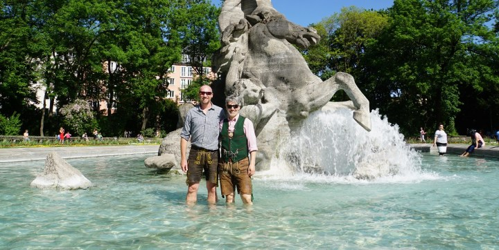 Lederhosen is the perfect fountain-wading attire