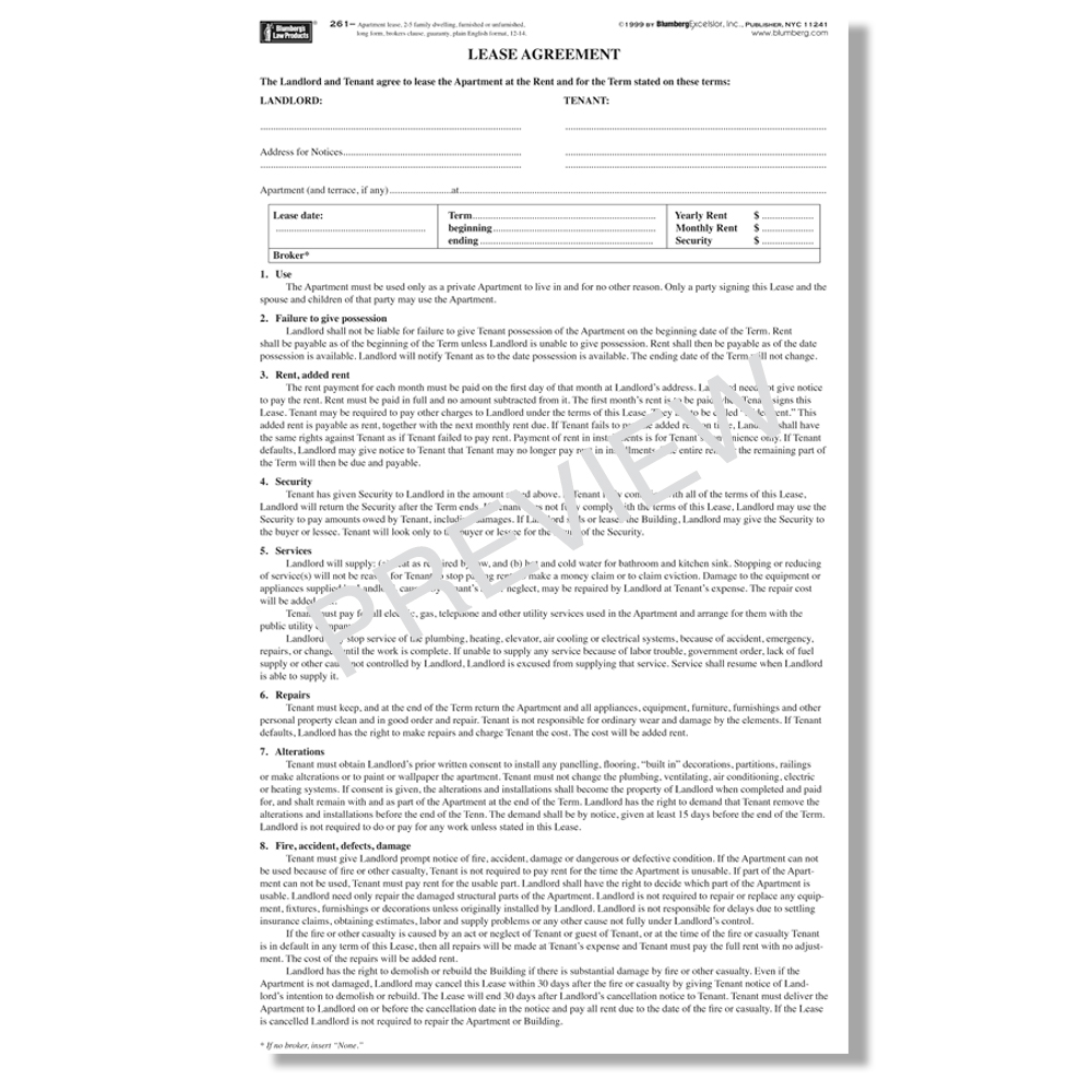 The dptwg has developed the following recommended tenancy agreement template for leases of private residential properties. Blumberg Lease New York Residential Lease Forms