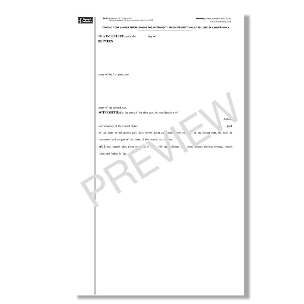 Blumberg New York Real Estate Forms-Deeds, Quitclaim, Warranty