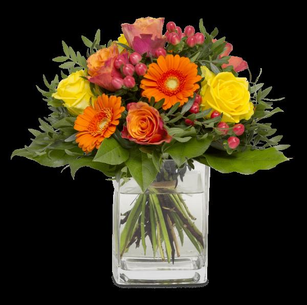Straußbild Glücksmomente Blumen Heller