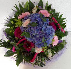 Hortensienstrau Blumenversand Hortensien Dahlien bunt Germini  Blumenspezi