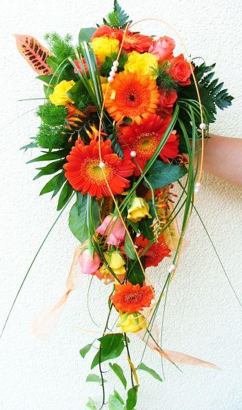 Brautstrue Brautstrau Hochzeit Tropfen in gelb orange