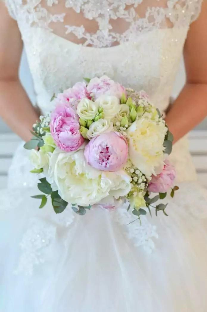 Brautstrau mit Pfingstrosen selber binden  Rosa Hochzeit