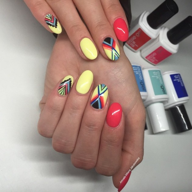 84 Cute & Colorful Tribal Nail Art Designs For Summer 2017