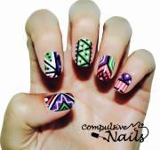 cute & colorful tribal nail