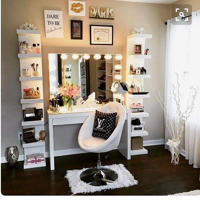 vanity with mirror and chair open back club chairs 55 great makeup decor ideas to adorn your home in style