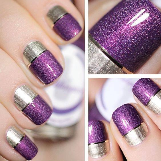 Attractive Purple And Silver Nails