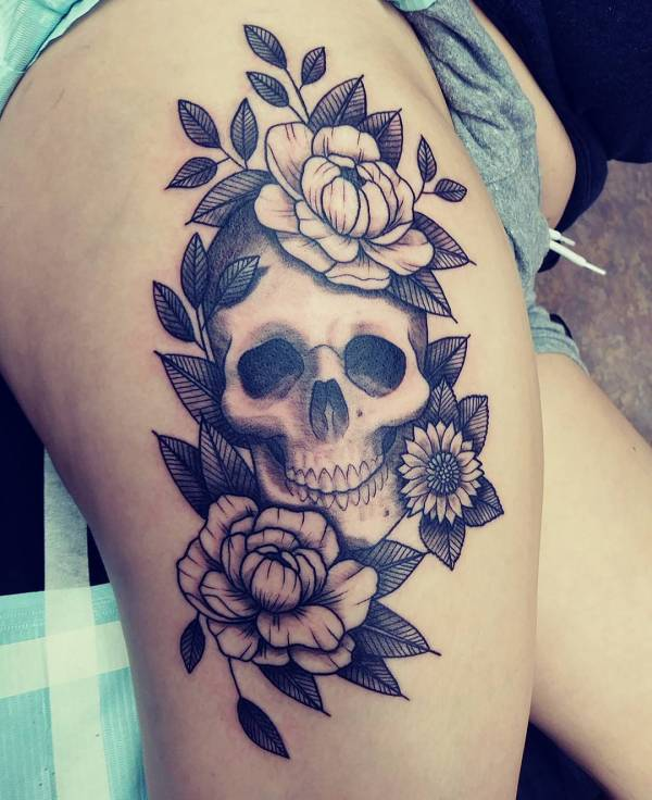 c1726160f Rose Tattoo Thigh Skull Girly Tattoos. Women Skull Tattoos with Sunflowers