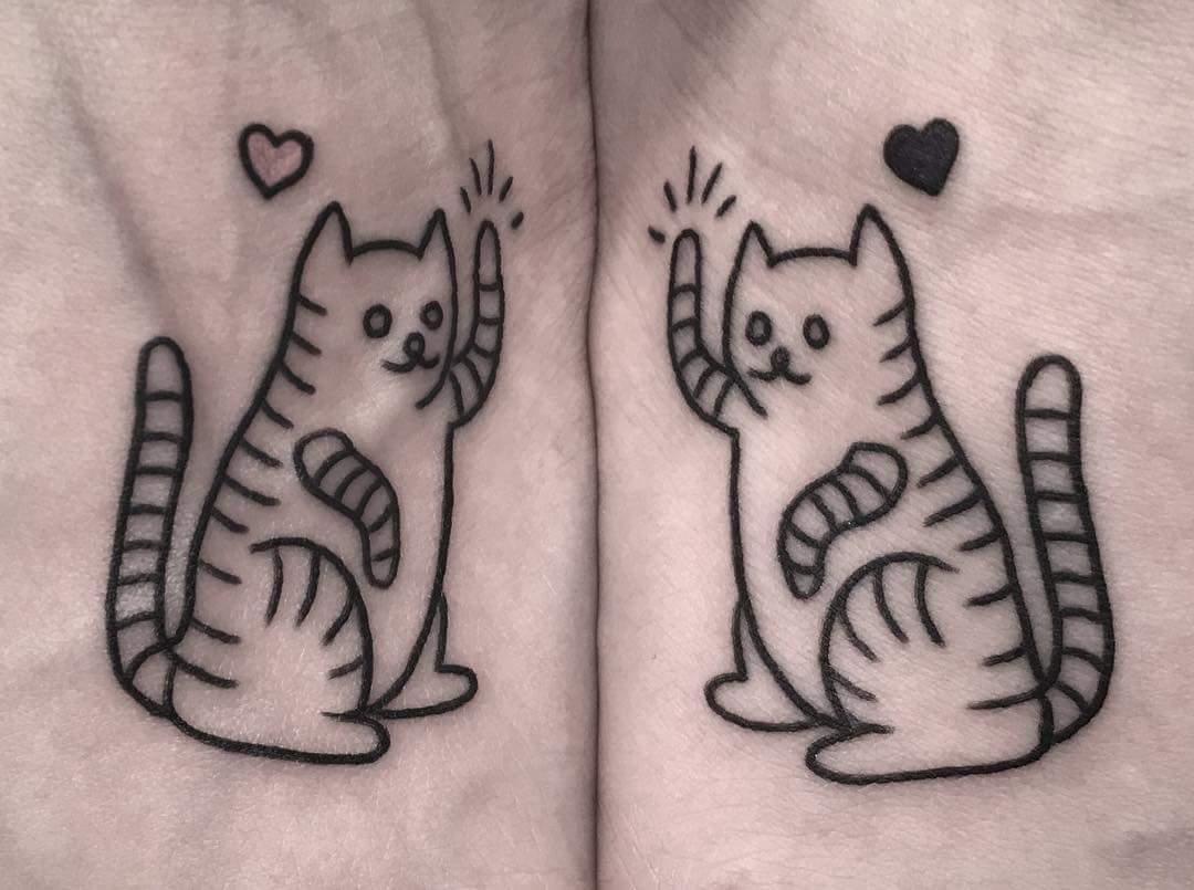 Bold Linework Cat And Heart Matching Sister Tattoo  Blurmark