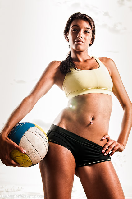 Female Beach Volleyball Athlete - Under Armour and Lululemon Beach Volleyball Uniform Combination