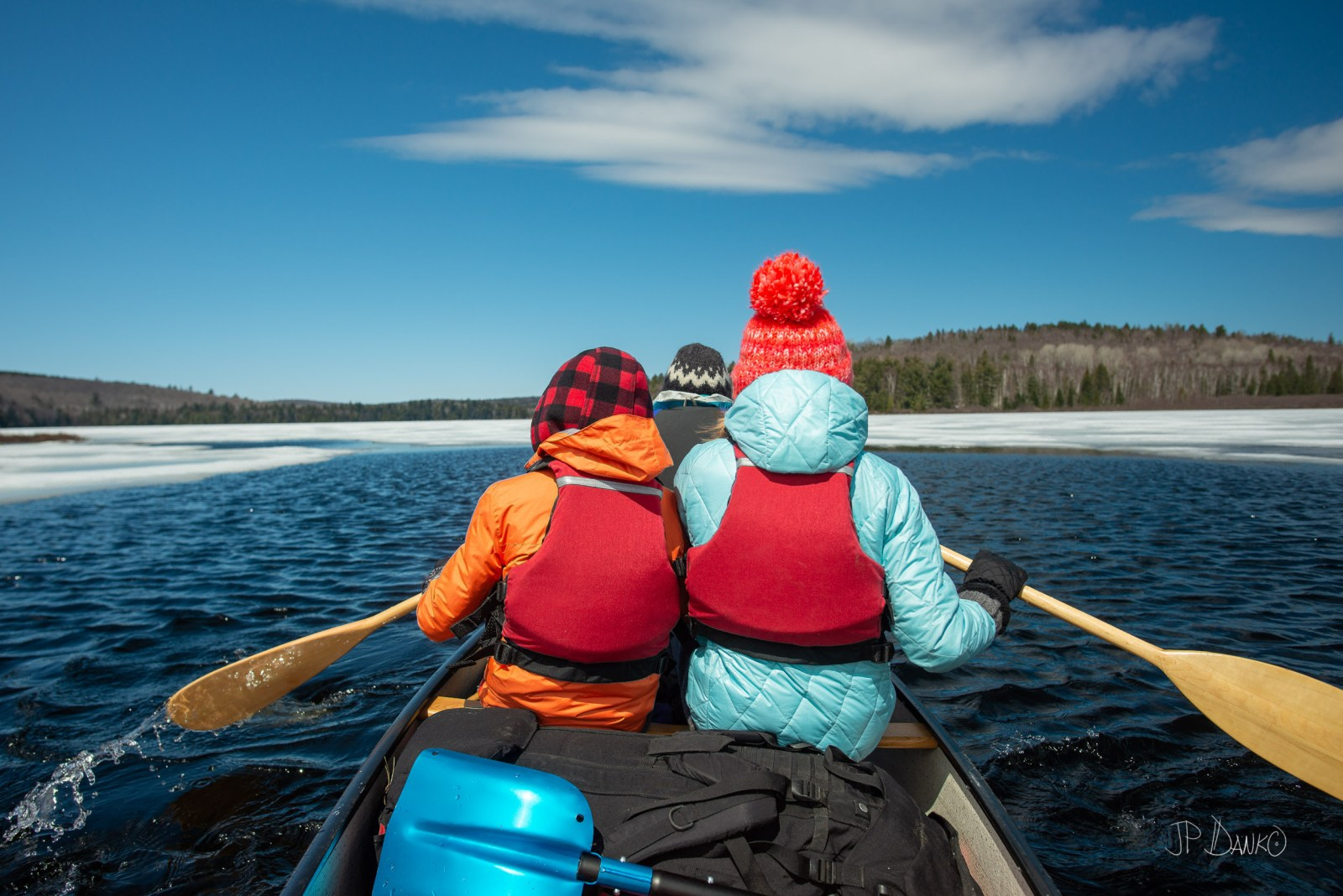 Spring Red Canoe Trip Backcountry Wilderness Ice Lake Sunny Day