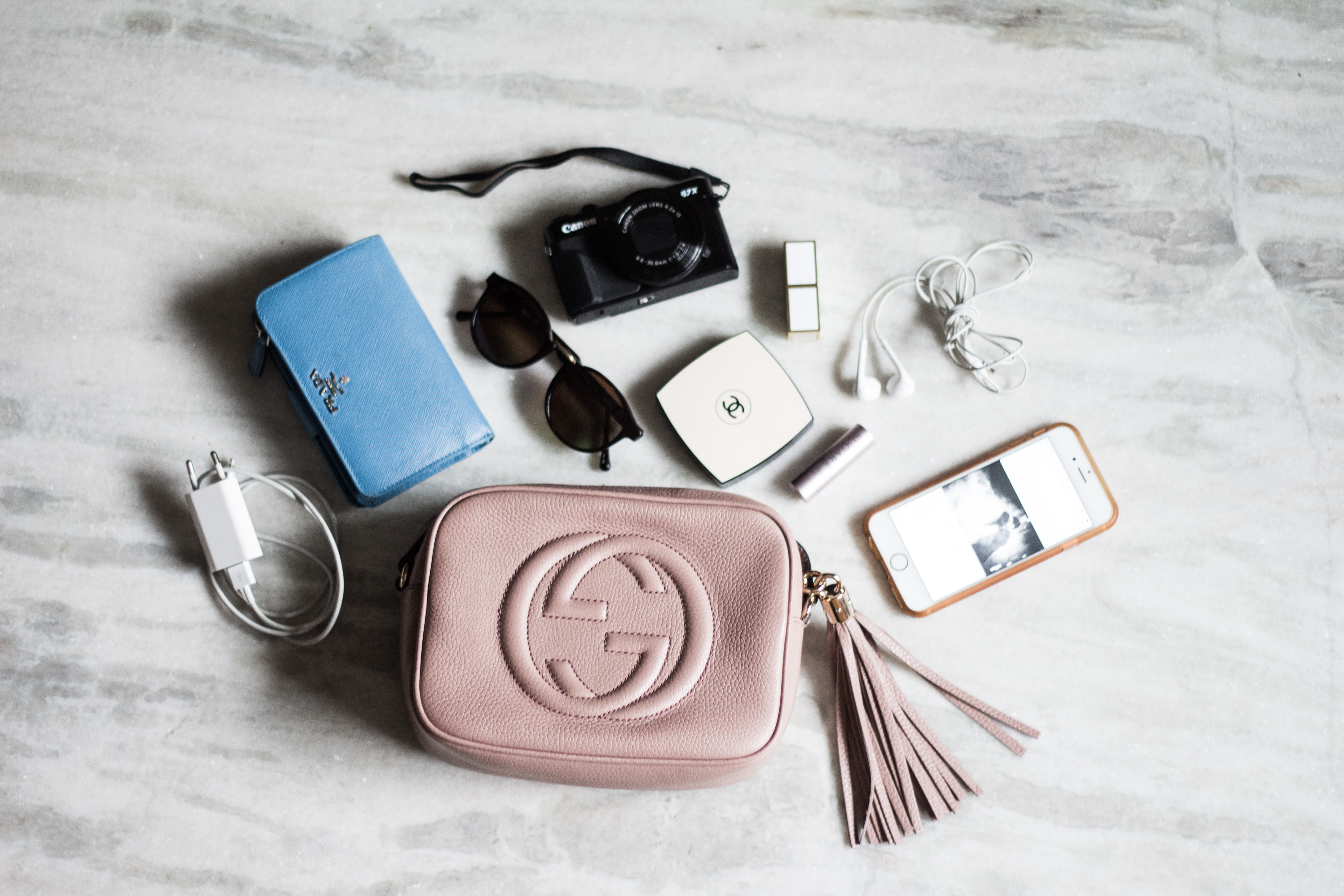 b2c09272ccb So what exactly does this fit? All of the above – wallet, a small camera,  sunglasses, phone, bits of makeup and wires. A typical long wallet would  take up ...