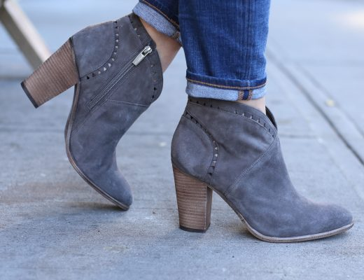 blogger Anna Monteiro wearing Vince Camuto Fritan booties in Greystone from Nordstrom