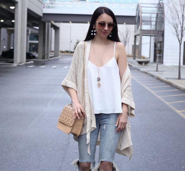 Anna Monteiro of Blushing ROse STyle wearing topshop flutter camisole and free people cardigan from nordstrom