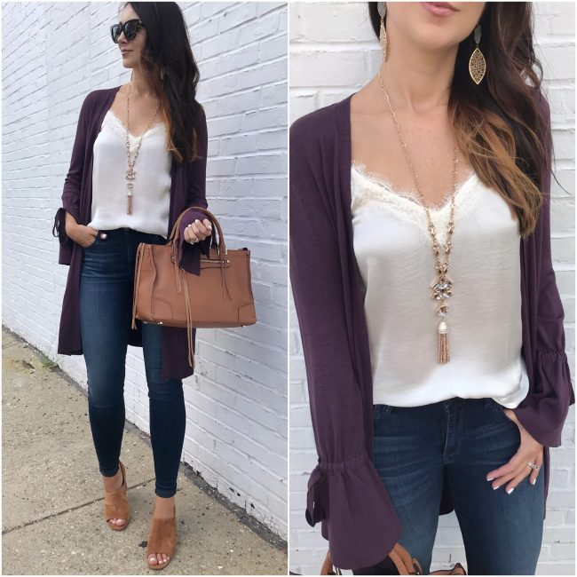 fashion blogger Anna Monteiro of Blushing Rose Style wearing tie sleeve halogen lace trim camisole and rebecca minkoff satchel in summer to fall outfits from nordstrom