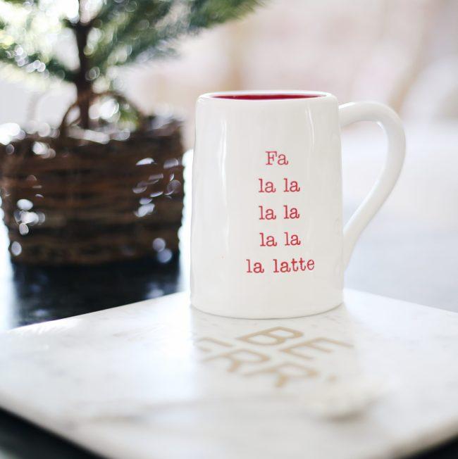 holiday coffee mug, holiday home decor