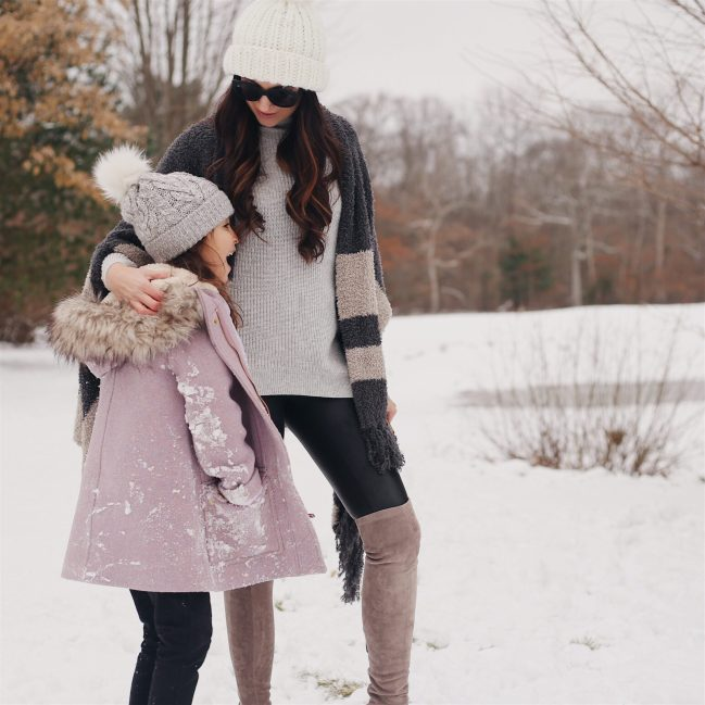 mother daughter fashion, winter outfit, cozy wrap